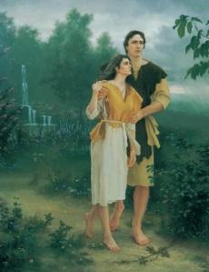 Adán y Eva descendieron de su estado de gloria inmortal y paradisíaca a un estado probatorio sobre la tierra. A esto se le llama la Caída