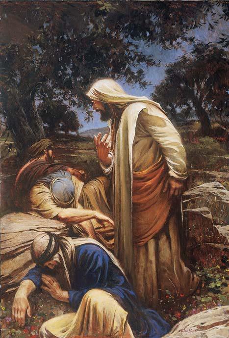 """Los discípulos de Cristo esperaron en un lugar cercano, y poco después se quedaron dormidos mientras Jesús entró solo a Getsemaní. Jesús """"vino la tercera vez y les dijo Dormid ya y descansad; basta, la hora ha llegado; he aquí"""